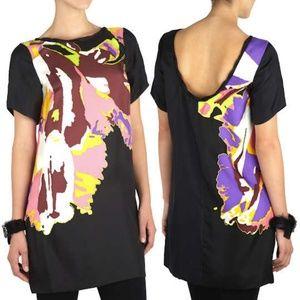Tibi Bahati Printed Silk Shift Mini Dress